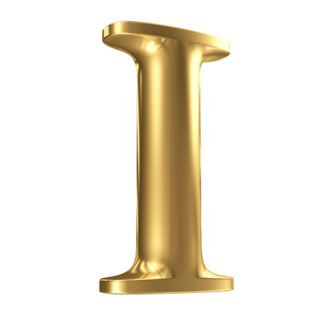 Golden matt letter I in perspective, jewellery font collection Stock Photo