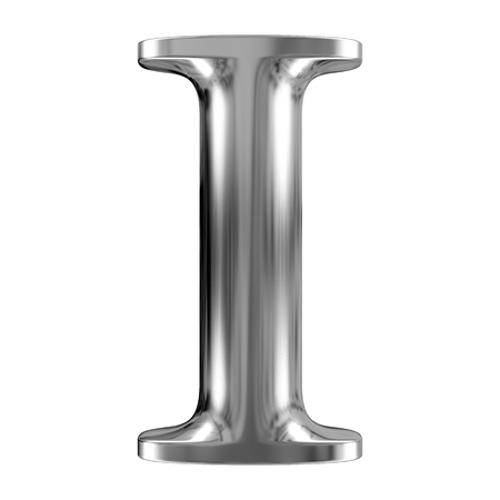 letras cromadas: Metal de la letra I del alfabeto de cromo sólido.