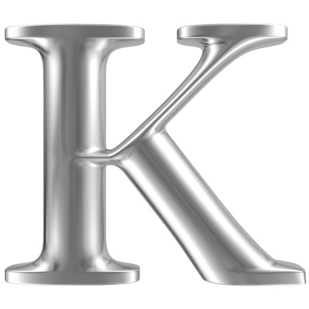 chrome letters: Aluminium font letter K Stock Photo