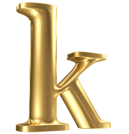 Golden matt lowercase letter k in perspective, jewellery font collection photo