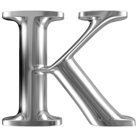 massive: Metal Letter K from chrome solid alphabet. Stock Photo