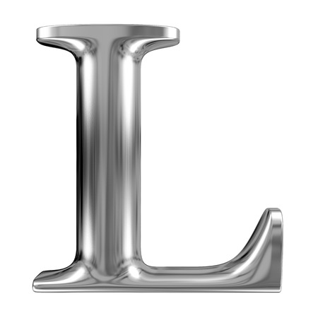 chromium: Metal Letter L from chrome solid alphabet. Stock Photo