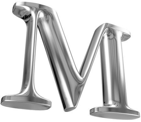 solid silver: Metal Letter M from chrome solid alphabet.