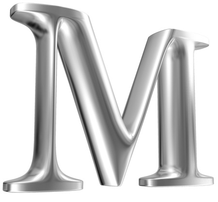 chrome letters: Aluminium font letter M in perspective Stock Photo