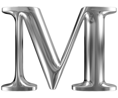 chromium: Metal Letter M from chrome solid alphabet.