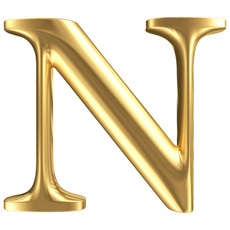Golden matt letter N, jewellery font collection photo