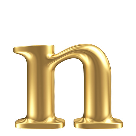 Golden matt lowercase letter n, jewellery font collection