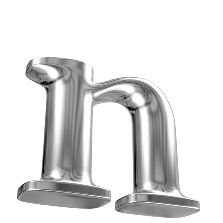 Metal lowercase letter n from chrome solid alphabet Stock Photo