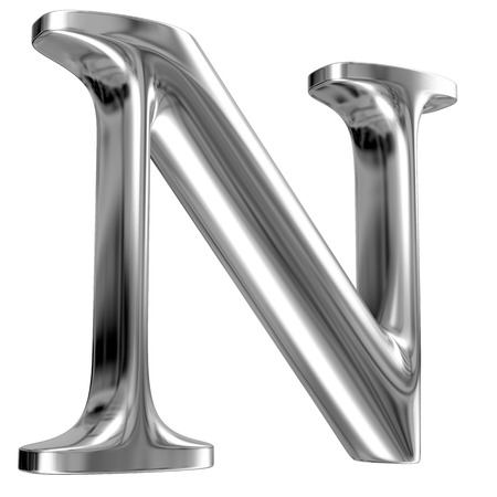 metal letter: Metal Letter N from chrome solid alphabet. Stock Photo