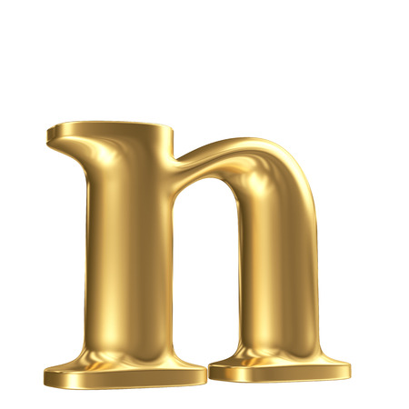 Golden matt lowercase letter n in perspective, jewellery font collection