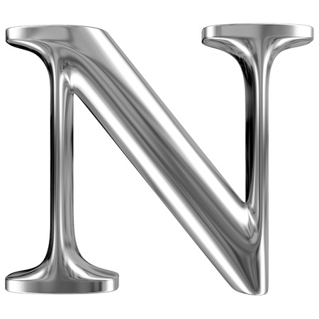 chromium: Metal Letter N from chrome solid alphabet. Stock Photo