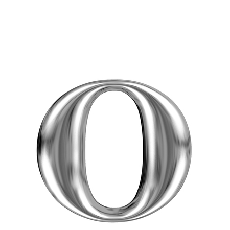 Metal lowercase Letter O from chrome solid alphabet  photo