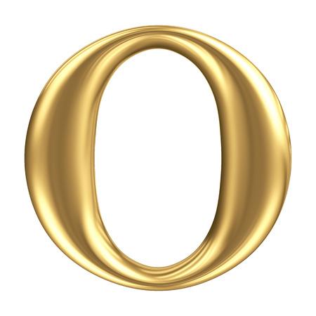 黄金マット手紙 O、ジュエリー フォント コレクション