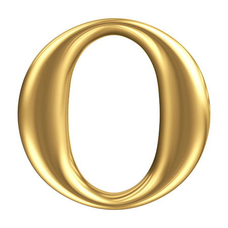 Golden matt letter O, jewellery font collection photo
