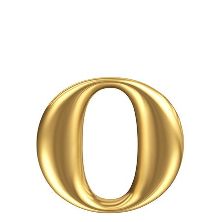 solid figure: Oro opaco lettera minuscola o, collezione di font di gioielli Archivio Fotografico