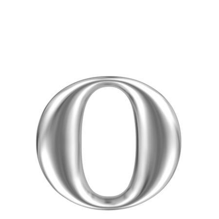 solid silver: Aluminium font lorewcase letter o Stock Photo