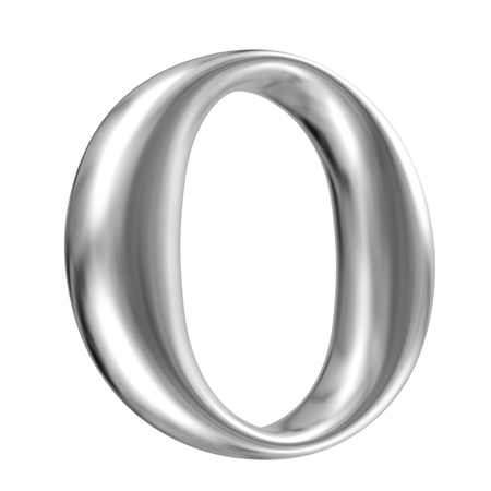 Aluminium font letter O in perspective