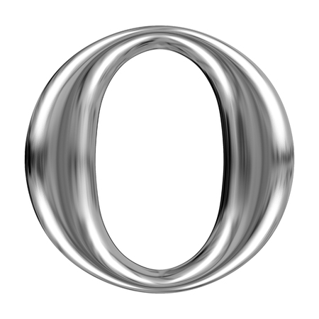 massive: Metal Letter O from chrome solid alphabet.