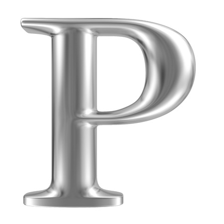 inox: Aluminium font letter P Stock Photo