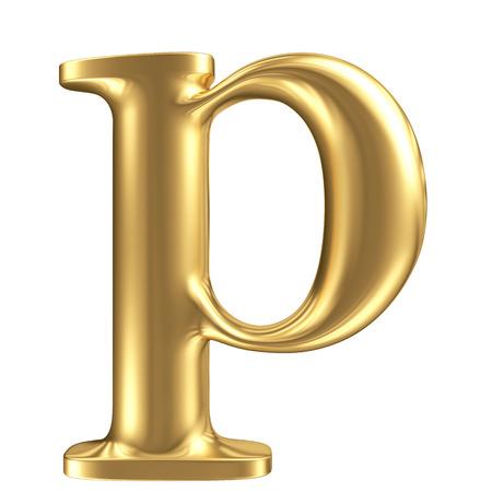 Golden matt lowercase letter p, jewellery font collection photo