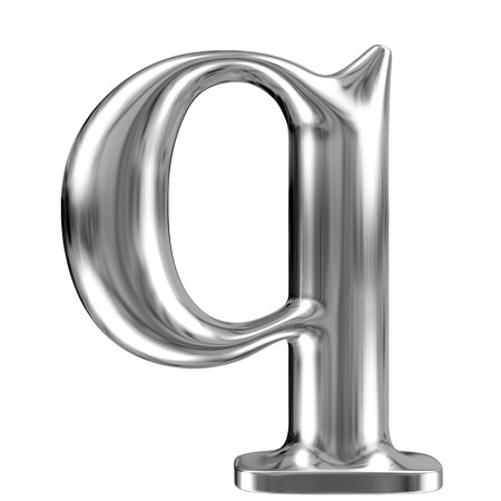 Metal lowercase Letter Q from chrome solid alphabet  photo