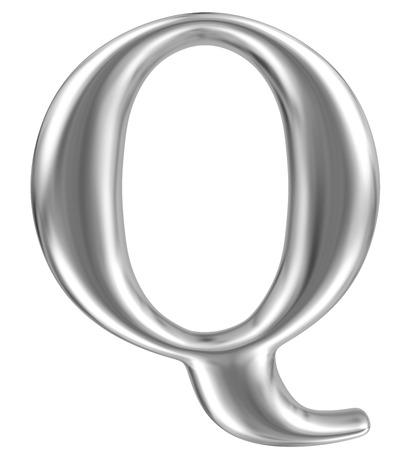 Aluminium font letter Q Stock Photo