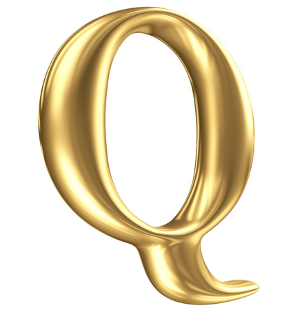 golden font: Golden matt letter Q in perspective, jewellery font collection Stock Photo