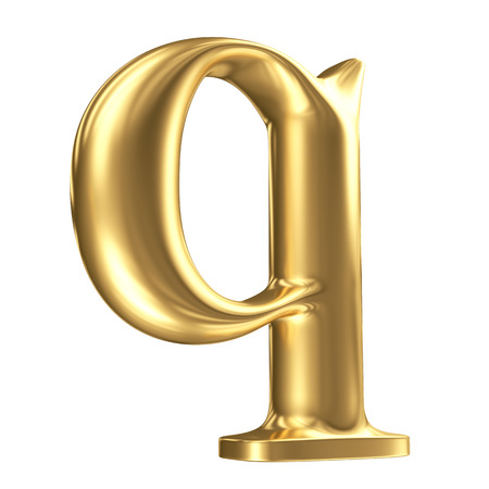 Golden matt lowercase letter q in perspective, jewellery font collection photo