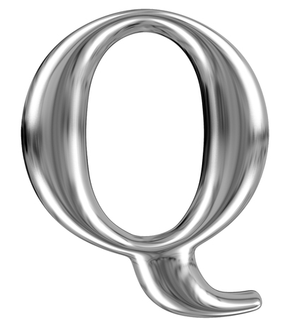 extruded: Metal Letter Q from chrome solid alphabet.