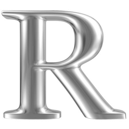 Aluminium lettertype letter R Stockfoto