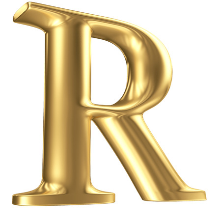Golden matt letter R in perspective, jewellery font collection Stock Photo - 23195023