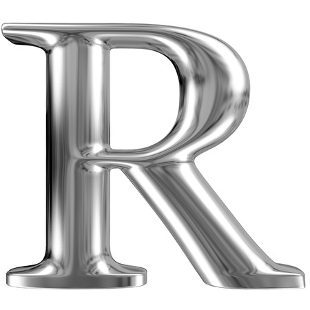 Metal Letter R from chrome solid alphabet.