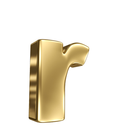 r fine: Letter r from gold solid alphabet Stock Photo