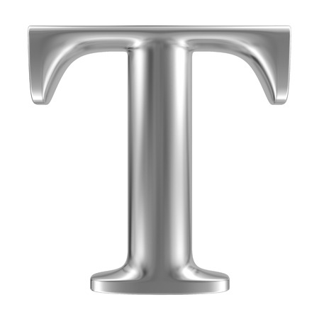 Aluminium font letter T Stock Photo