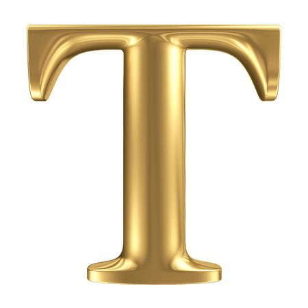 letras de oro: Oro mate letra T, colecci�n de fuentes joyer�a Foto de archivo