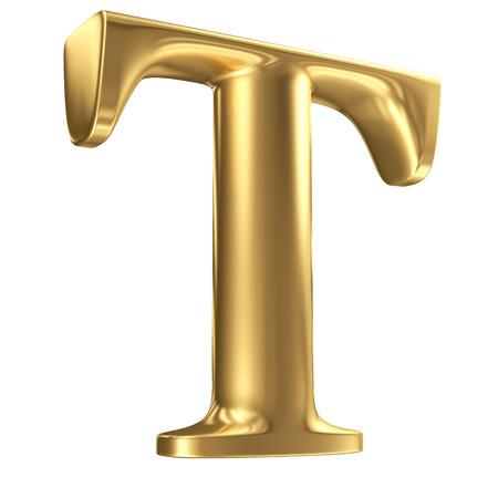 letras doradas: Oro mate letra T en perspectiva, colección de fuentes joyería Foto de archivo