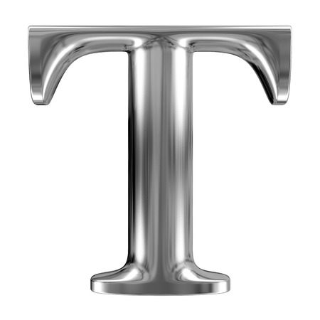 chrome: Metal Letter T from chrome solid alphabet. Stock Photo