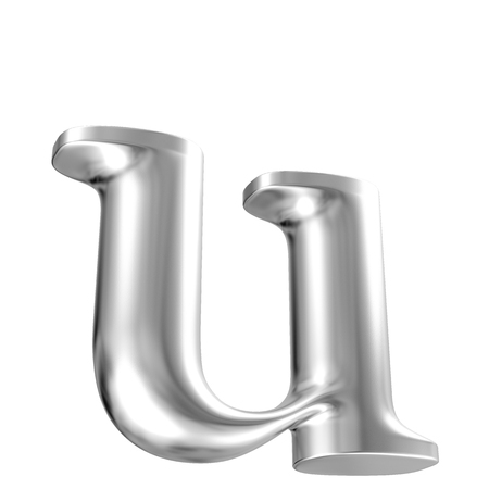 Aluminium font lorewcase letter u in perspective, bootom view photo