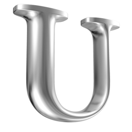 solid silver: Aluminium font letter U in perspective Stock Photo