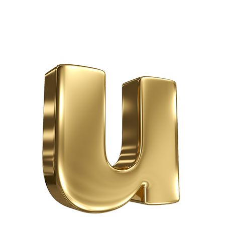 gold standard: Letter u from gold solid alphabet