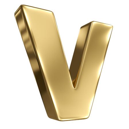 goldbars: Letter V from gold solid alphabet