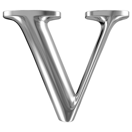 solid silver: Metal Letter V from chrome solid alphabet.