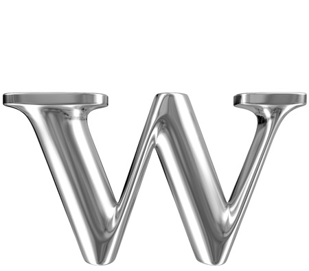 Metal lowercase Letter W from chrome solid alphabet  photo