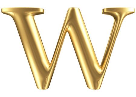 Golden matt letter W, jewellery font collection