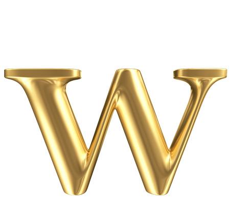 Golden matt kleine letter w, sieraden lettertype collectie Stockfoto