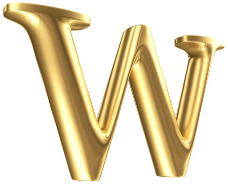 Golden matt letter W in perspective, jewellery font collection