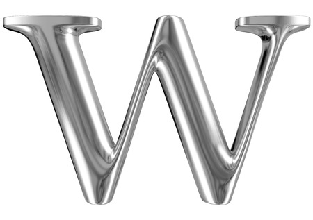 massive: Metal Letter W from chrome solid alphabet.