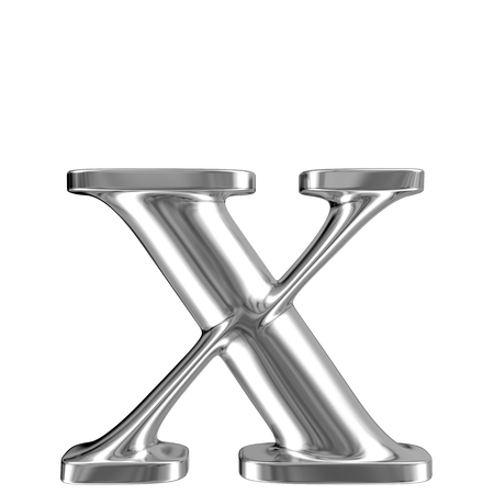 Metal lowercase Letter X from chrome solid alphabet  photo
