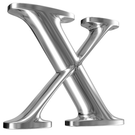 Metal Letter X from chrome solid alphabet. photo