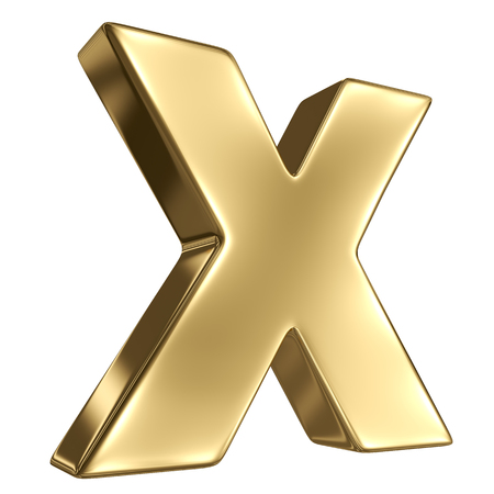 gold standard: Letter X from gold solid alphabet
